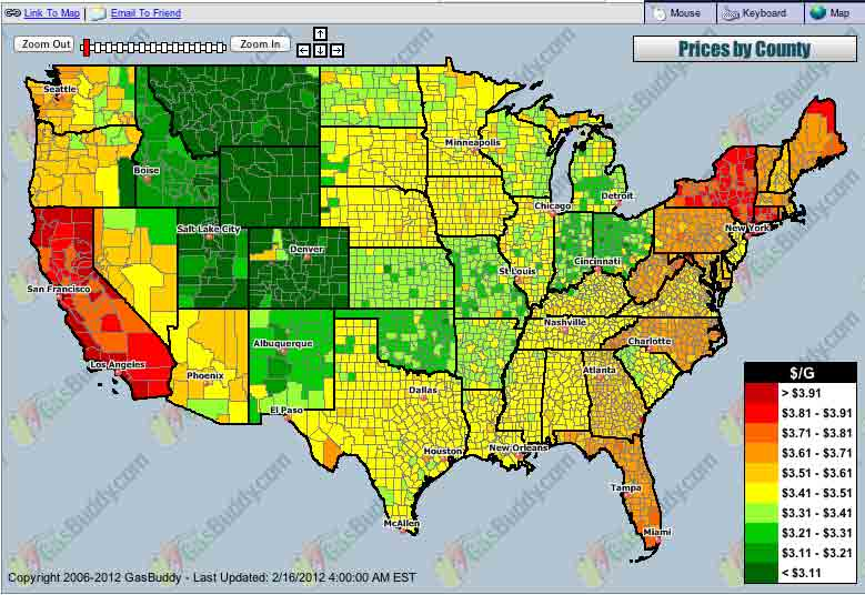 US Gasoline Price Map - Do gas prices affect your riding ...