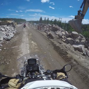 Canadian Road Construction tests the GS (hehe, I spilled some coffee)